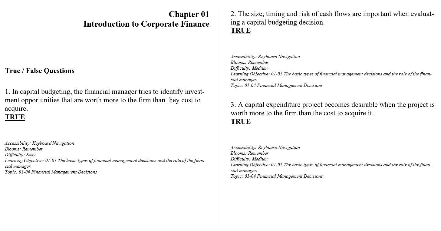 test bank for Fundamentals of Corporate Finance 10th Canadian Edition by Ross Westerfield的图片 3