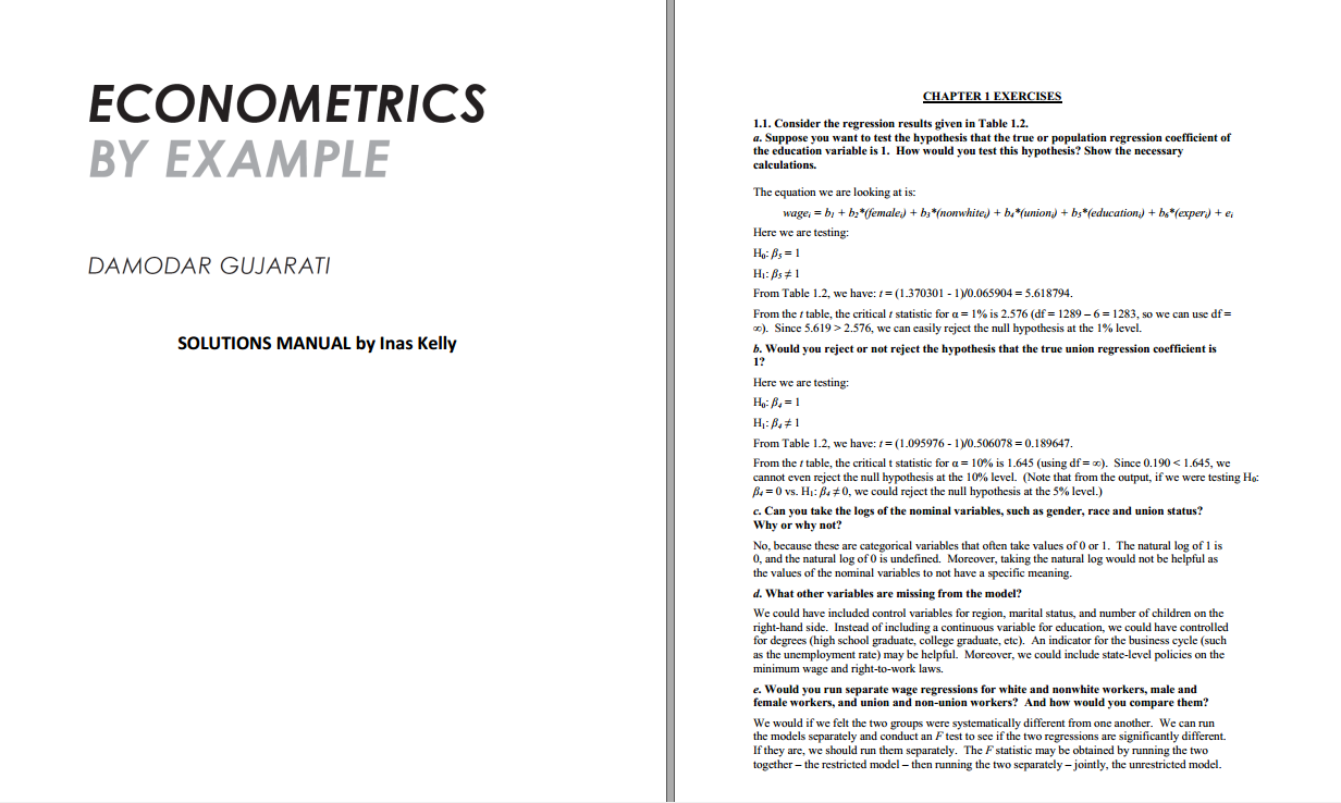 Solution manual for Econometrics by Example 2nd Edition by Damodar Gujarati的图片 2