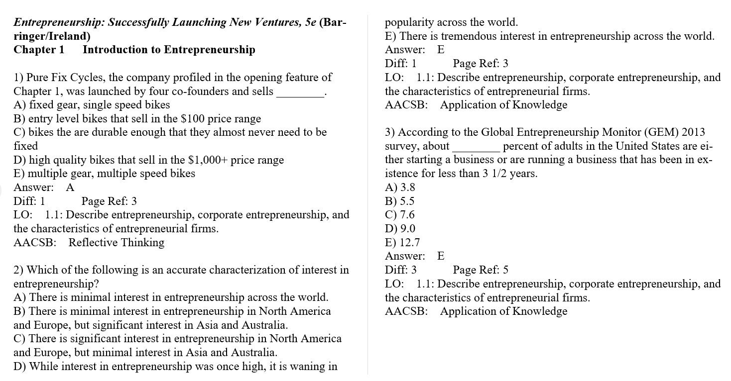 Test bank for Entrepreneurship: Successfully Launching New Ventures 5th Edition by Bruce R. Barringer的图片 3