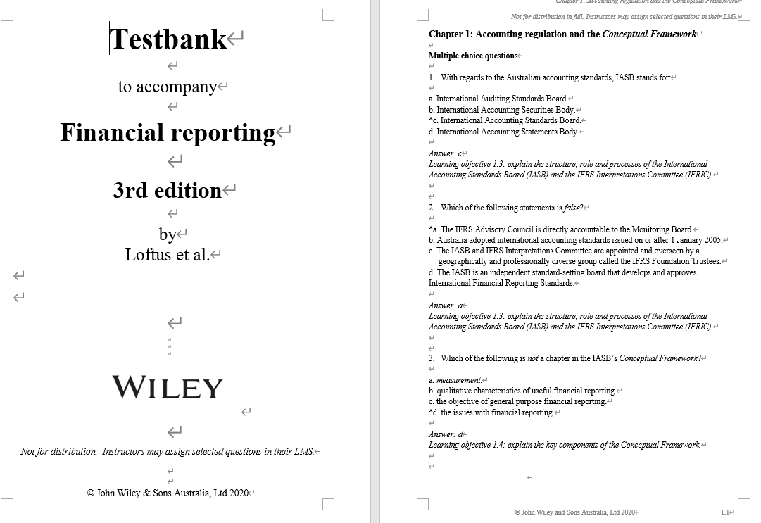 test bank for Financial Reporting 3rd Edition by Janice Loftus的图片 3