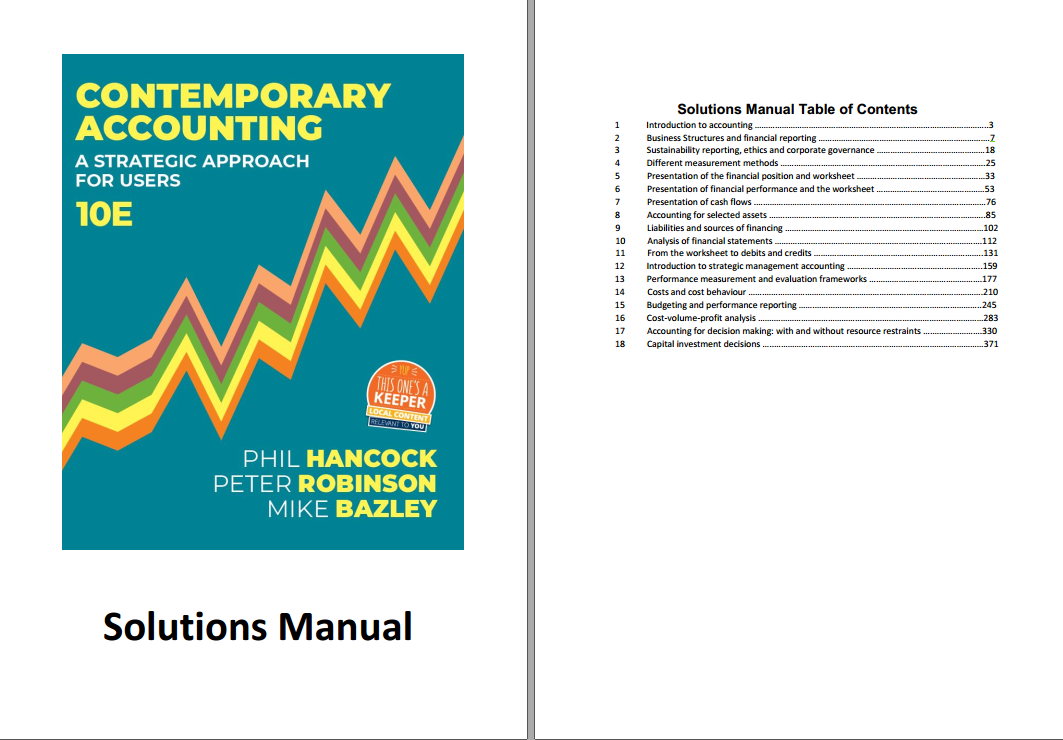 Solution manual for Contemporary Accounting: A Strategic Approach for Users 10th edition by Phil Hancock的图片 2