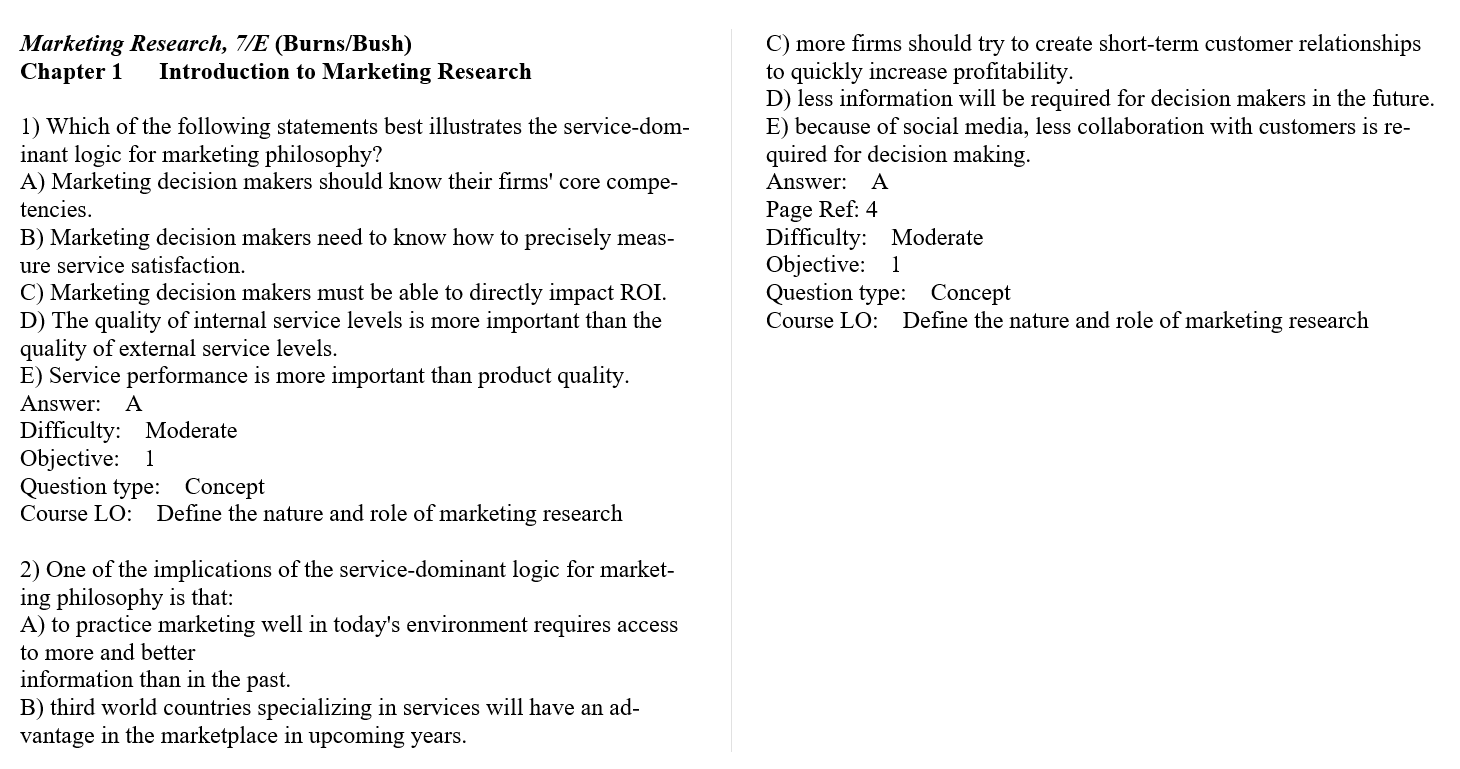 Test bank for Marketing Research 7th Edition by Alvin C. Burns的图片 3