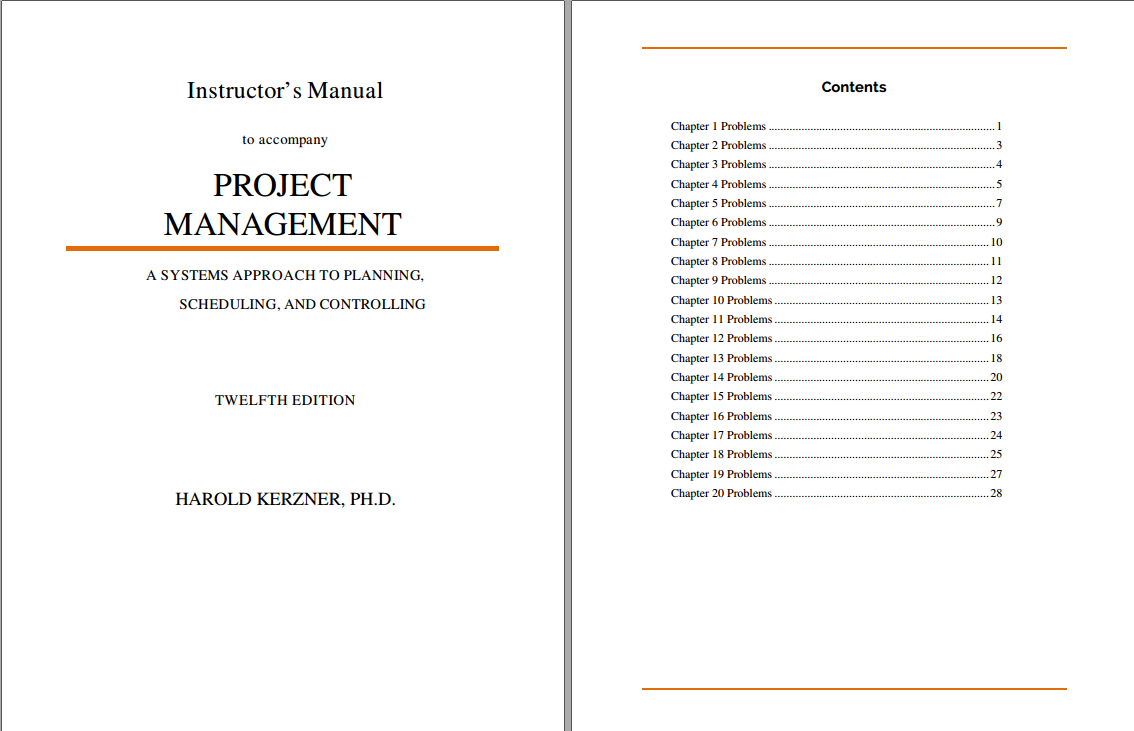 Solution manual for Project Management: A Systems Approach to Planning, Scheduling, and Controlling 12th Edition by Harold Kerzner的图片 2