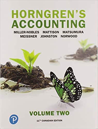 Test bank for Horngren's Accounting, Volume 2, 11th Canadian Edition by Tracie Miller-Nobles