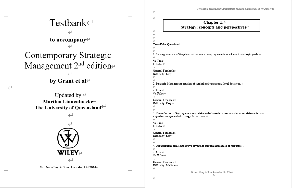 Test bank for Contemporary Strategic Management: An Australasian Perspective 2nd Edition by Robert M. Grant的图片 3