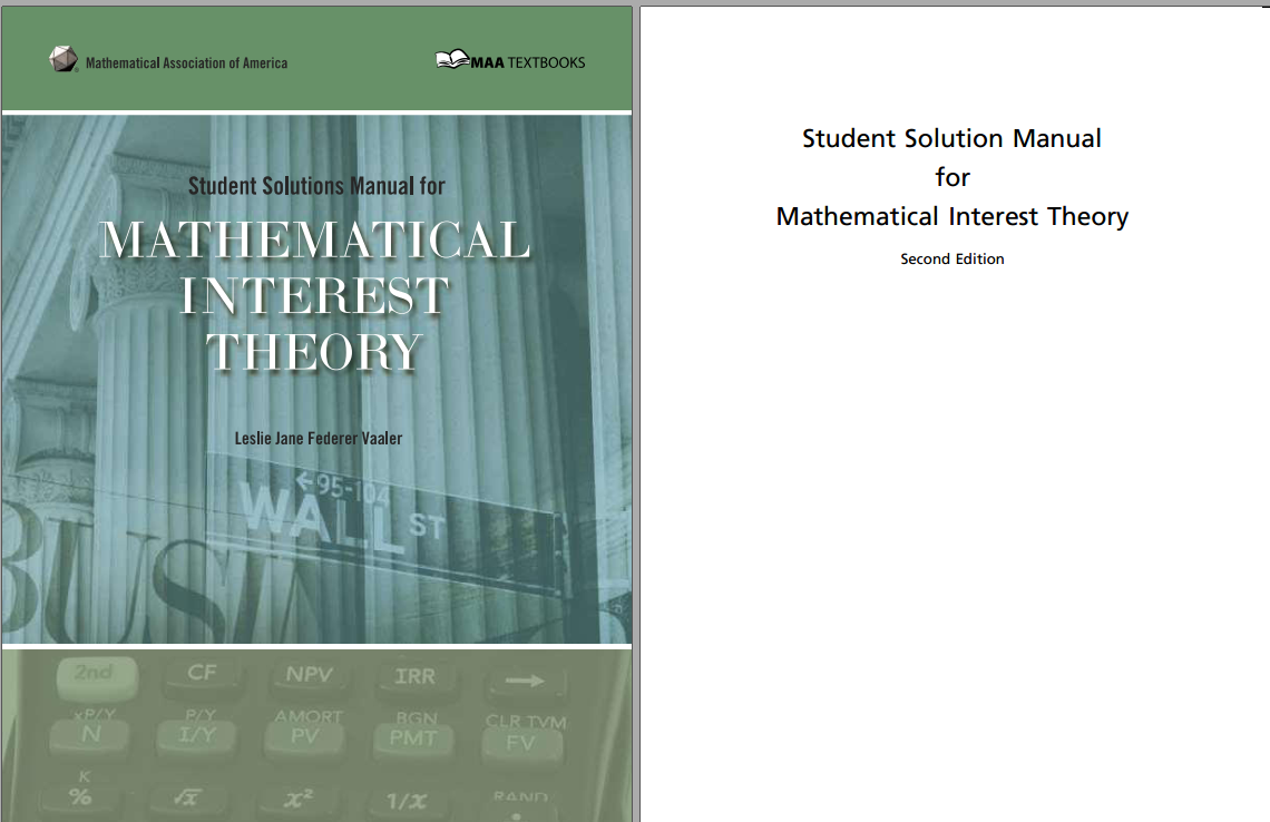 Solution manual for Mathematical Interest Theory 2nd Edition by Leslie Vaaler的图片 2
