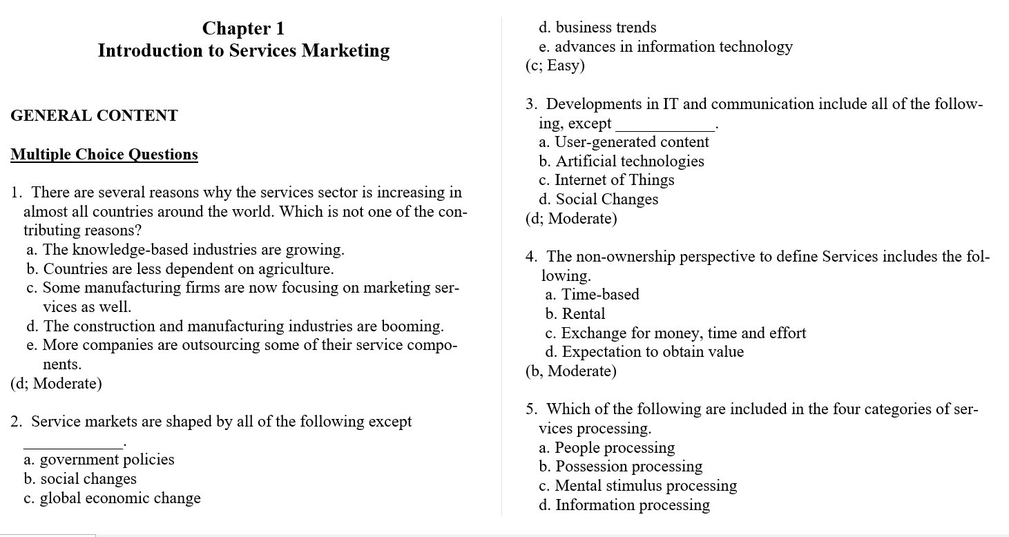 Test bank for Essentials of Services Marketing 3rd Edition by Jochen Wirtz的图片 3
