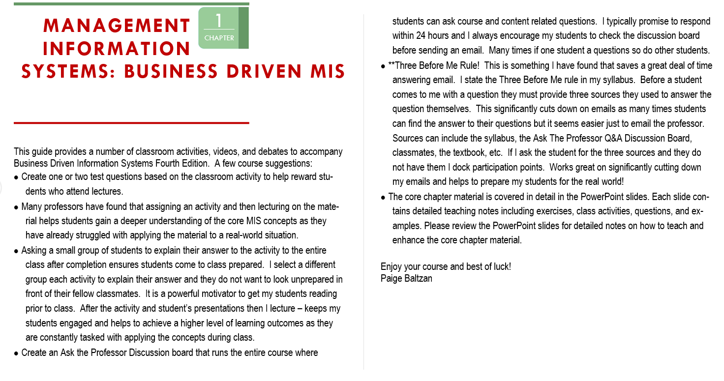 Solution manual and Instructor manual for Business Driven Information Systems 4th Edition by Paige Baltzan的图片 4
