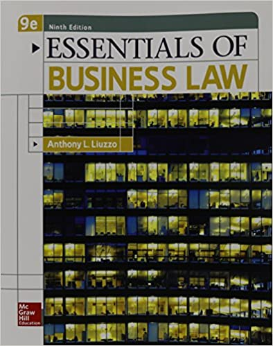 Test bank for Essentials of Business Law 9th Edition by Anthony Liuzzo