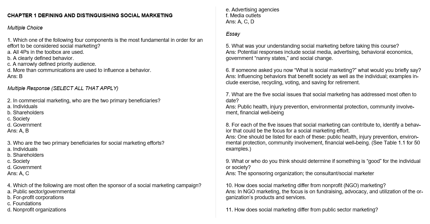Test bank for Social Marketing: Behavior Change for Social Good 6th Edition by Nancy R. Lee的图片 3