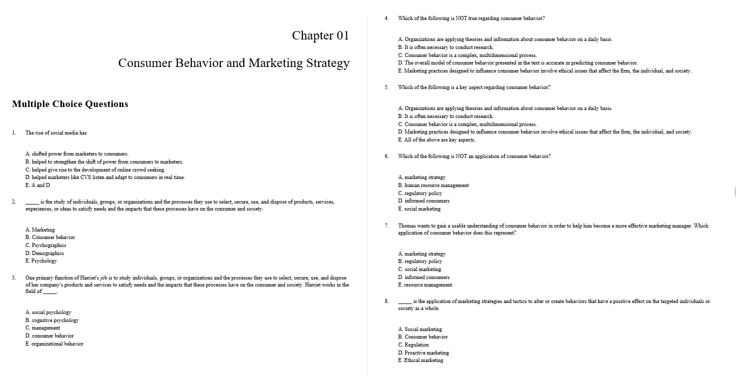 Test bank for Consumer Behavior: Building Marketing Strategy 13th Edition by Mothersbaugh的图片 3