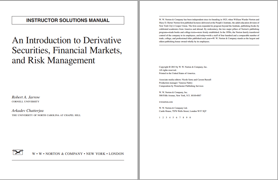 Solution manual for An Introduction to Derivative Securities, Financial Markets, and Risk Management 1st Edition by Robert A. Jarrow的图片 2