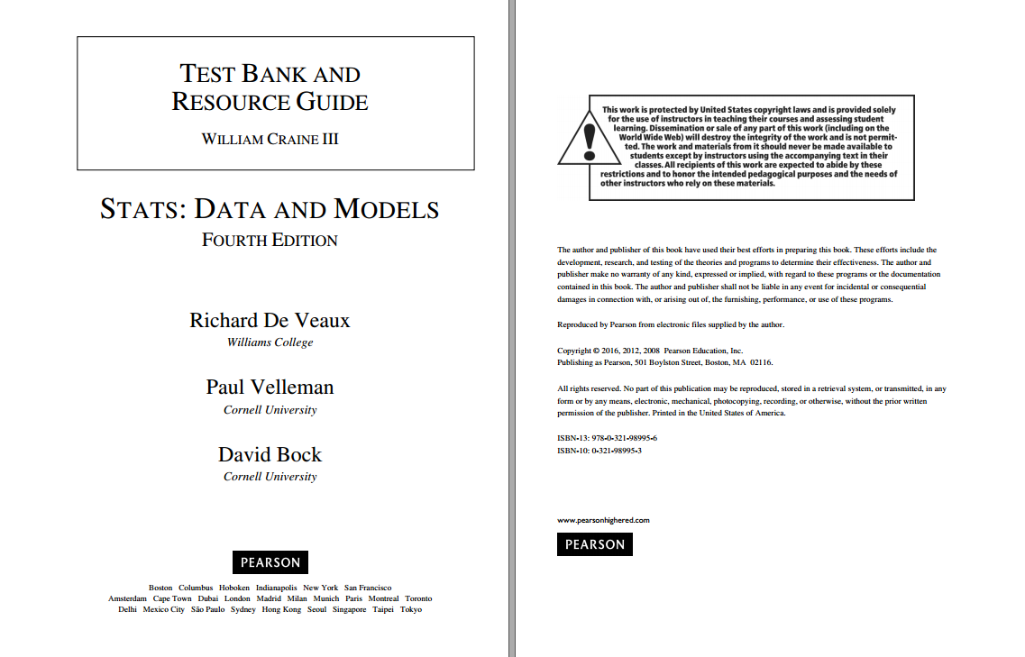 Test bank for Stats: Data and Models 4th Global Edition by Richard D. De Veaux的图片 2