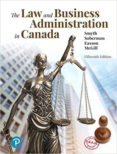 test bank for the Law and Business Administration in Canada 15th Edition by J.E. Smyth的图片 1