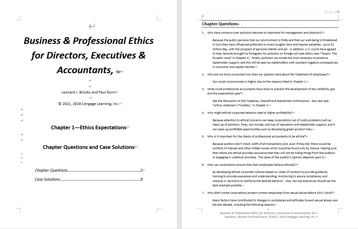 Solution manual for Business and Professional Ethics 9th Edition by Leonard J. Brooks的图片 3