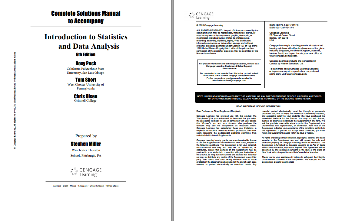 Solution manual for Introduction to Statistics and Data Analysis 6th Edition by Roxy Peck的图片 2