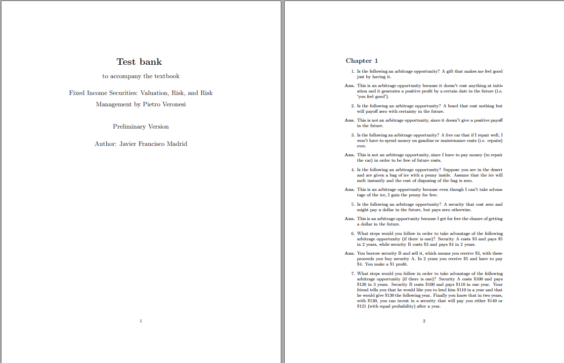 Test bank for Fixed Income Securities: Valuation, Risk, and Risk Management 1st Edition by Pietro Veronesi的图片 2