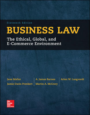 test bank for Business Law 16th Edition by Jane Mallor