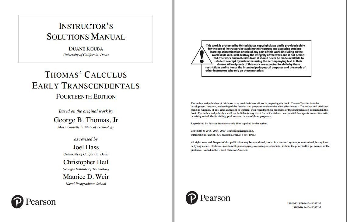 Solution manual for Thomas' Calculus: Early Transcendentals 14th Edition by Joel Hass的图片 2