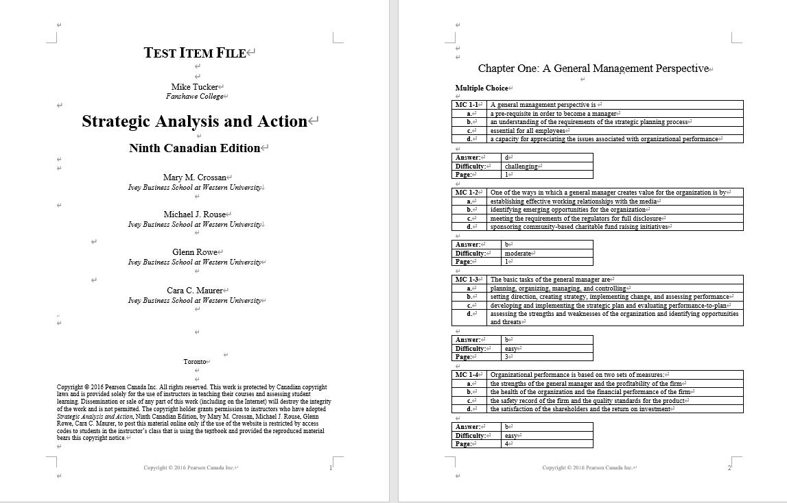 Test bank for Strategic Analysis and Action 9th Edition by Mary M. Crossan的图片 3