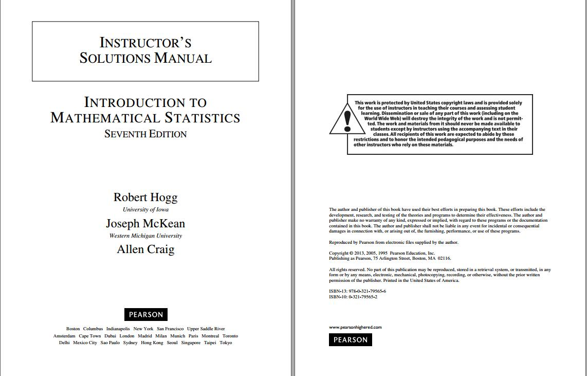 Solution manual for Introduction to Mathematical Statistics 7th Edition by Robert Hogg的图片 2
