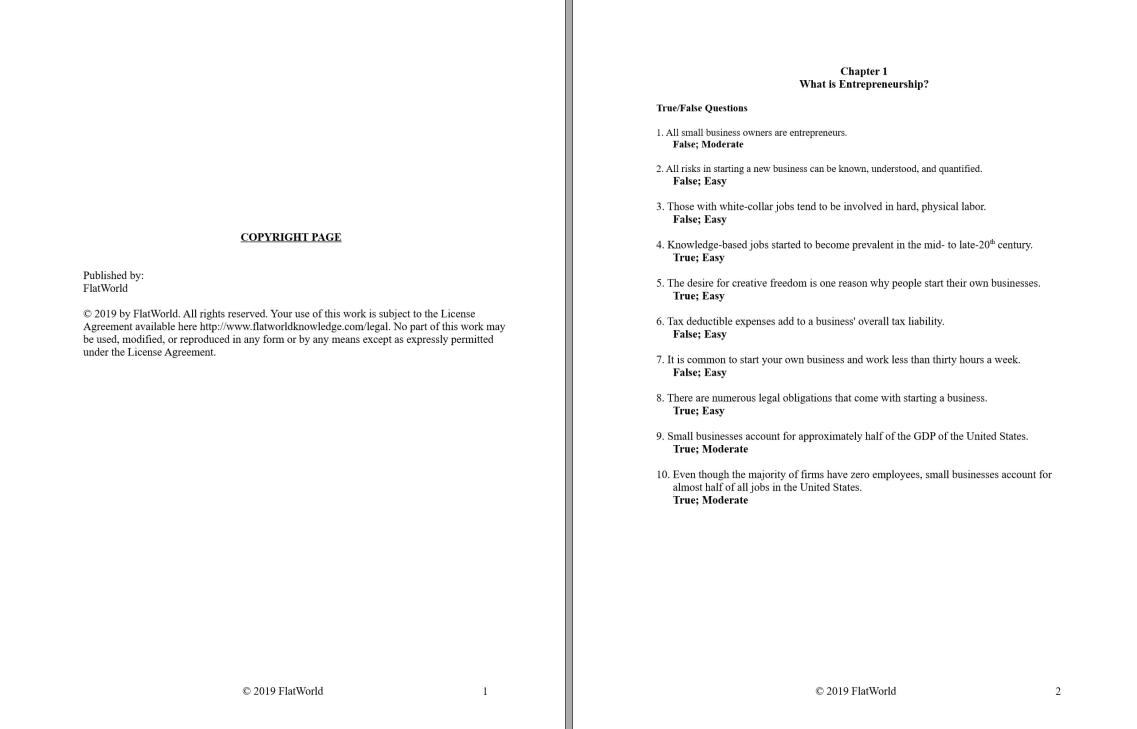 Test bank for Entrepreneurship Version 1.0 by Portolese的图片 2