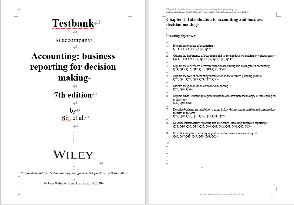 Test bank for Accounting: Business Reporting for Decision Making 7th Edition by Jacqueline Birt的图片 3