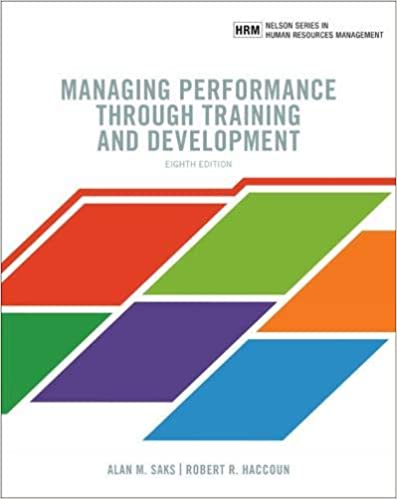 Test bank for Managing Performance through Training and Development 8th edition by Alan Saks