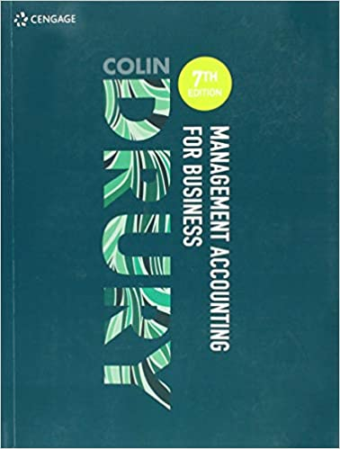 Test bank for Management Accounting for Business 7th edition by Drury