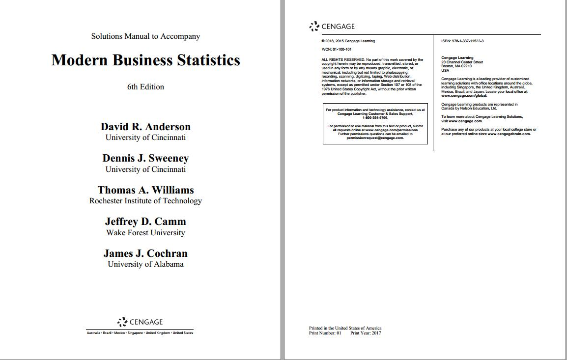 Solution manual for Modern Business Statistics with Microsoft Office Excel 6th Edition by David R. Anderson的图片 2
